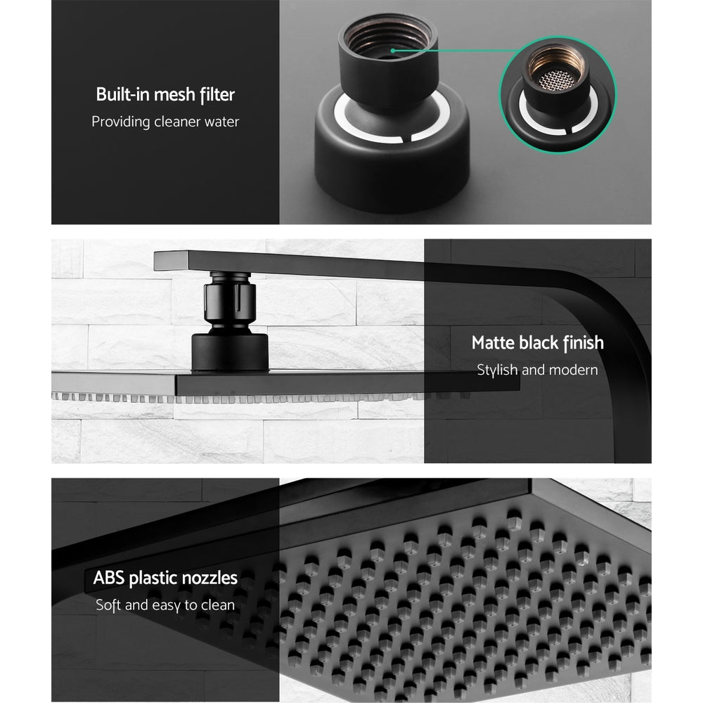 Cefito WElS 8'' Rain Shower Head Taps Square High Pressure Wall Arm DIY Black