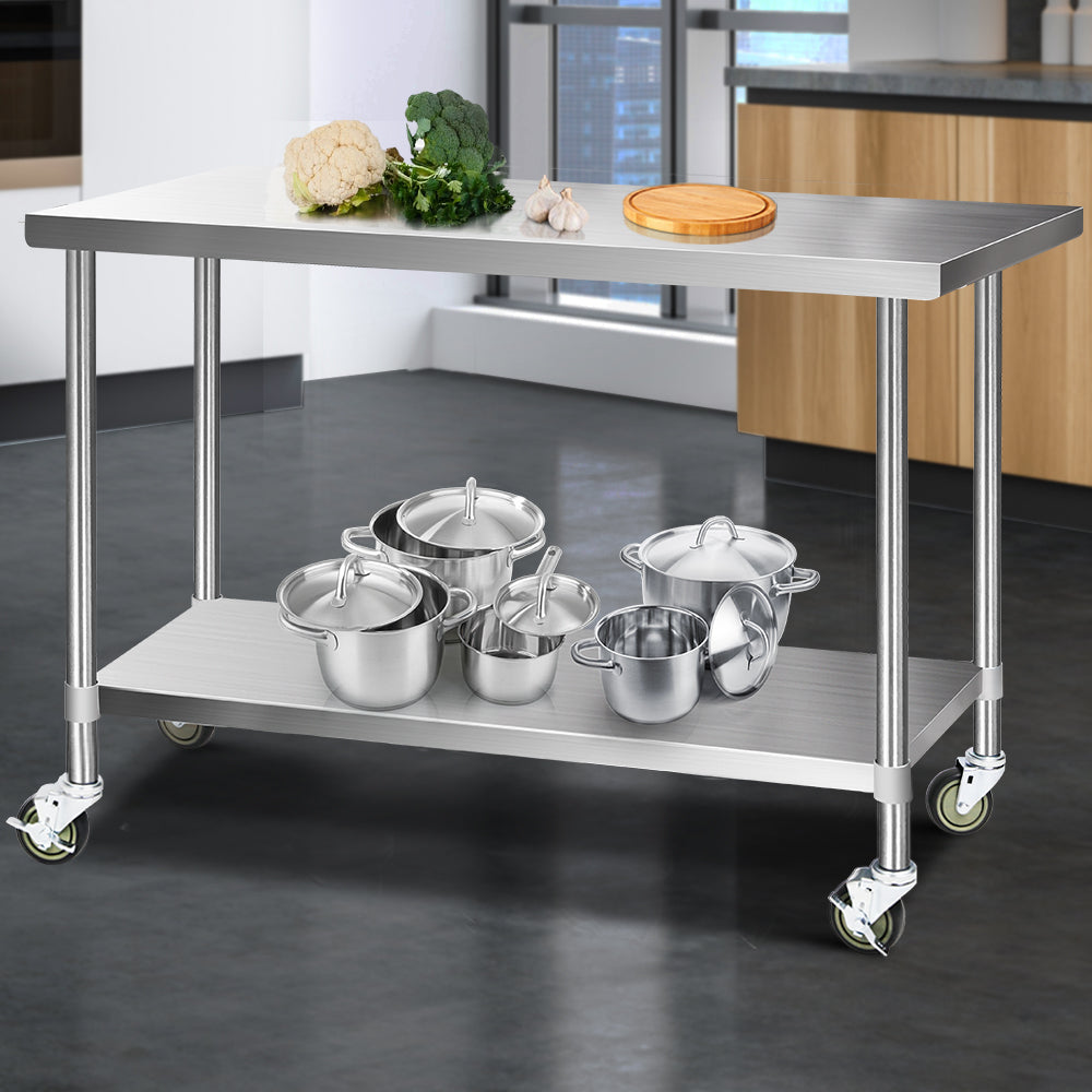 Cefito 1524 x 762mm Commercial Stainless Steel Kitchen Bench with 4pcs Castor Wheels