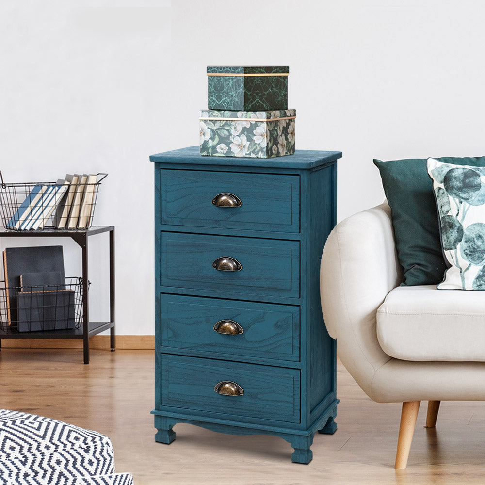 Artiss Bedside Tables Drawers Cabinet Vintage 4 Chest of Drawers Blue Nightstand