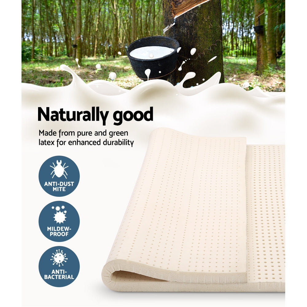 Latex Mattress Topper Pad Mat Cover 7 Zone 100% Natural Memory Foam Pillowtop Underlay Alternative Double Size Bed High Density 7.5cm Thick