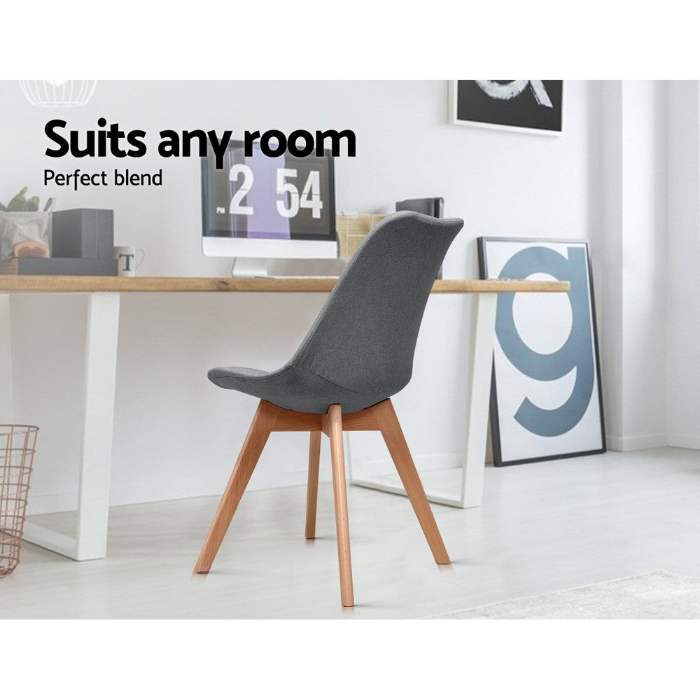Artiss Dining Chairs DSW Retro Replica Eiffel Kitchen Chair Cafe Grey