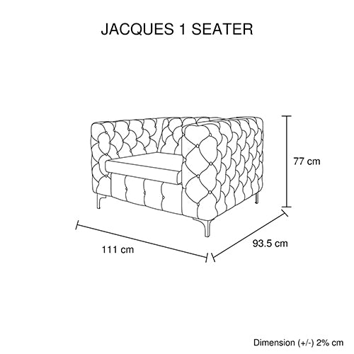 Jacques 1 Seater Black Colour