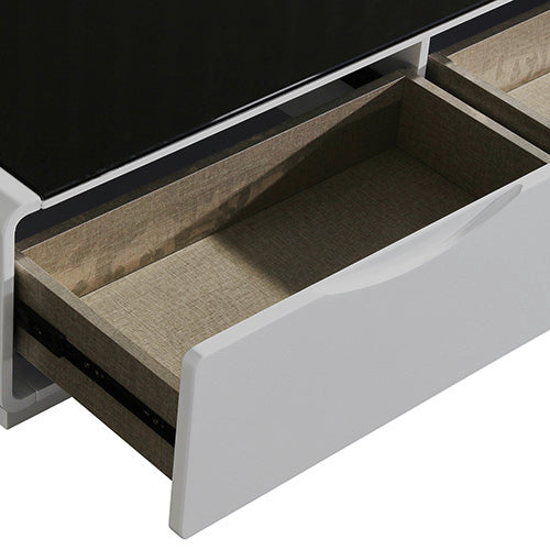 Metro TV Cabinet Black Glass & White Painting