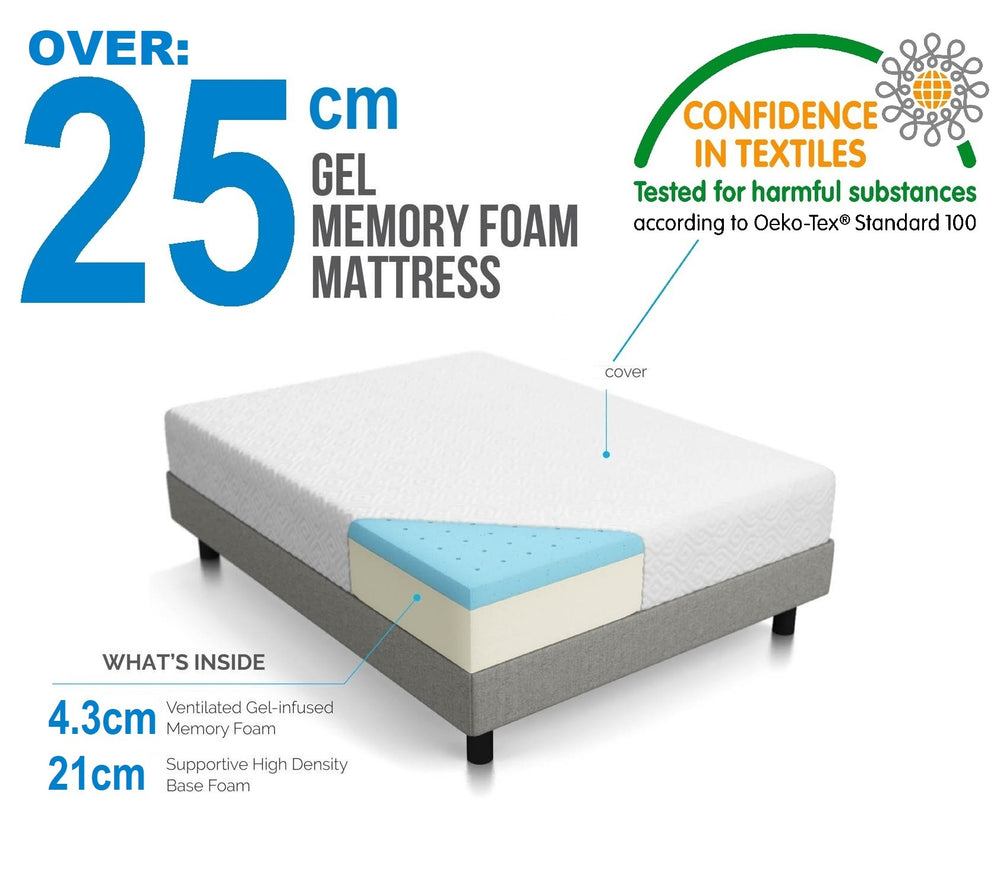 Palermo King Single 25cm Gel Memory Foam Mattress - Dual-Layered - CertiPUR-US Certified