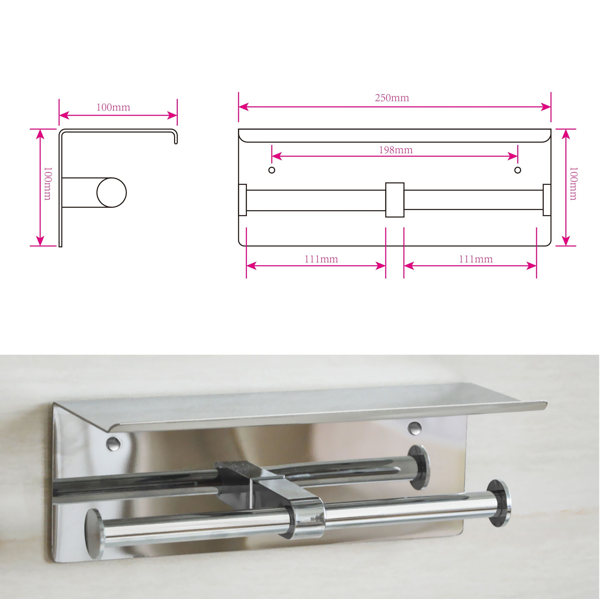 Stainless Steel Double Toilet Paper Holder Towel Roll Tissue Rack Storage Shelf