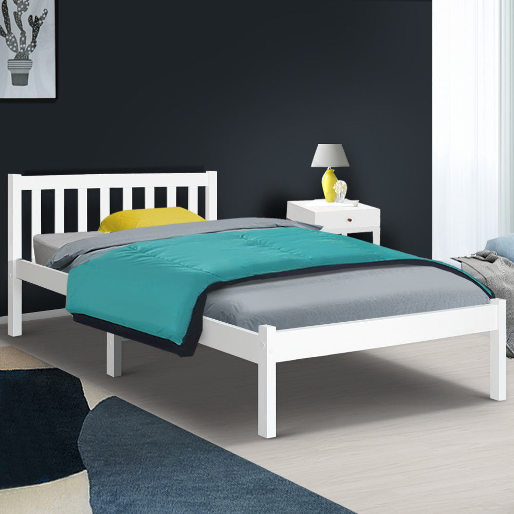 King Single Wooden Bed Frame - White