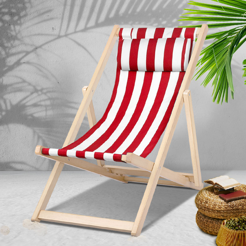 Gardeon Outdoor Furniture Sun Lounge Wooden Beach Chairs Deck Chair Folding Patio
