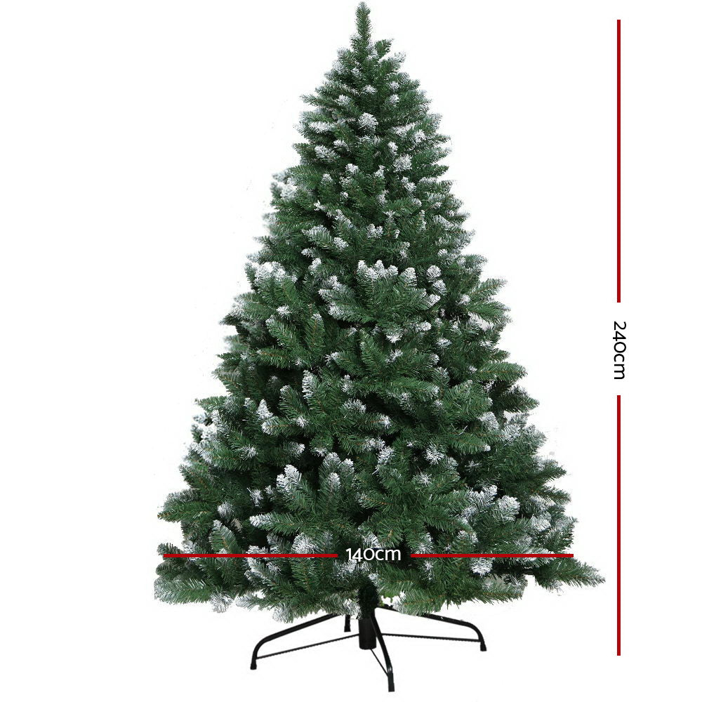 Jingle Jollys 2.4M 8FT Christmas Tree Xmas Home Decoration 1400 Tips Snowy Green