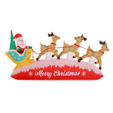 Jingle Jollys Inflatable Christmas Santa On Sleigh 2.8M Lights Outdoor Decorations