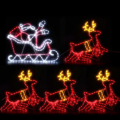 Jingle Jollys Christmas Motif Lights LED Rope Reindeer Waterproof Colourful Xmas