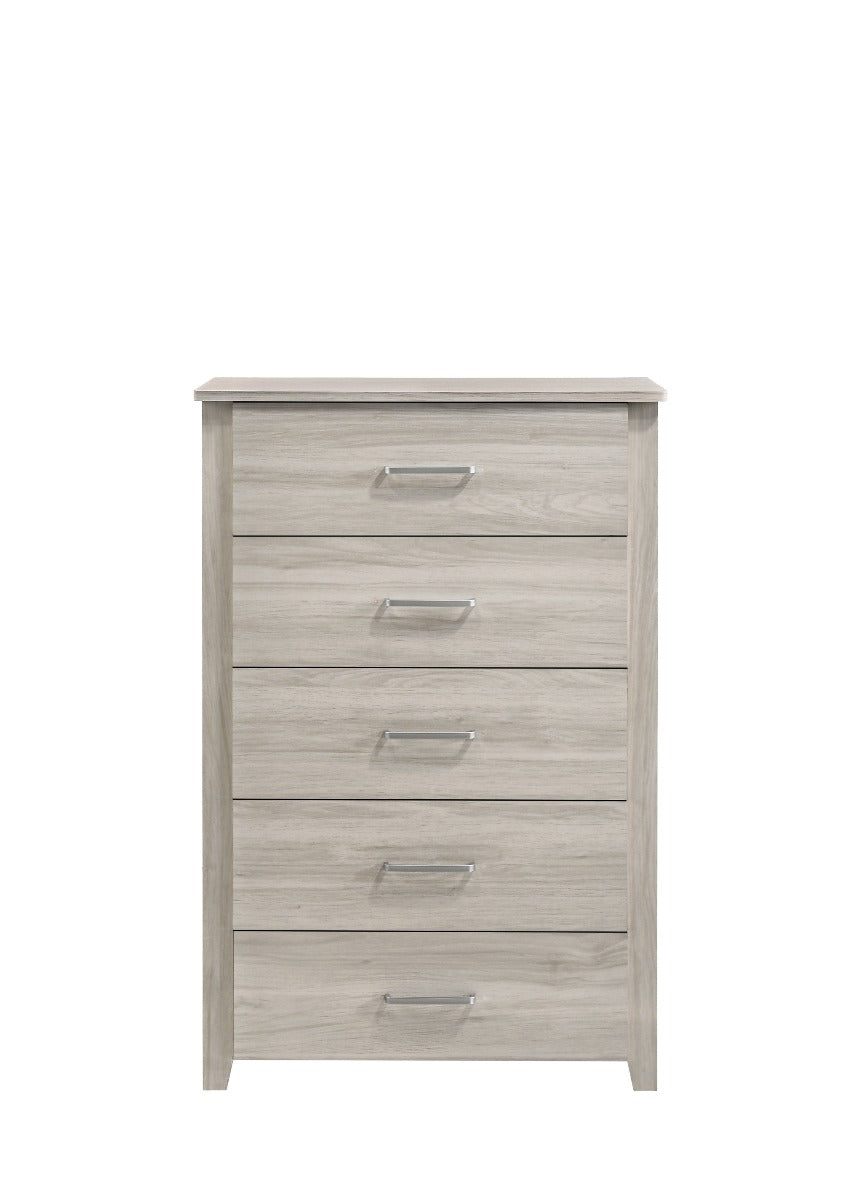 5 Chest Of Drawers Tallboy In White Oak