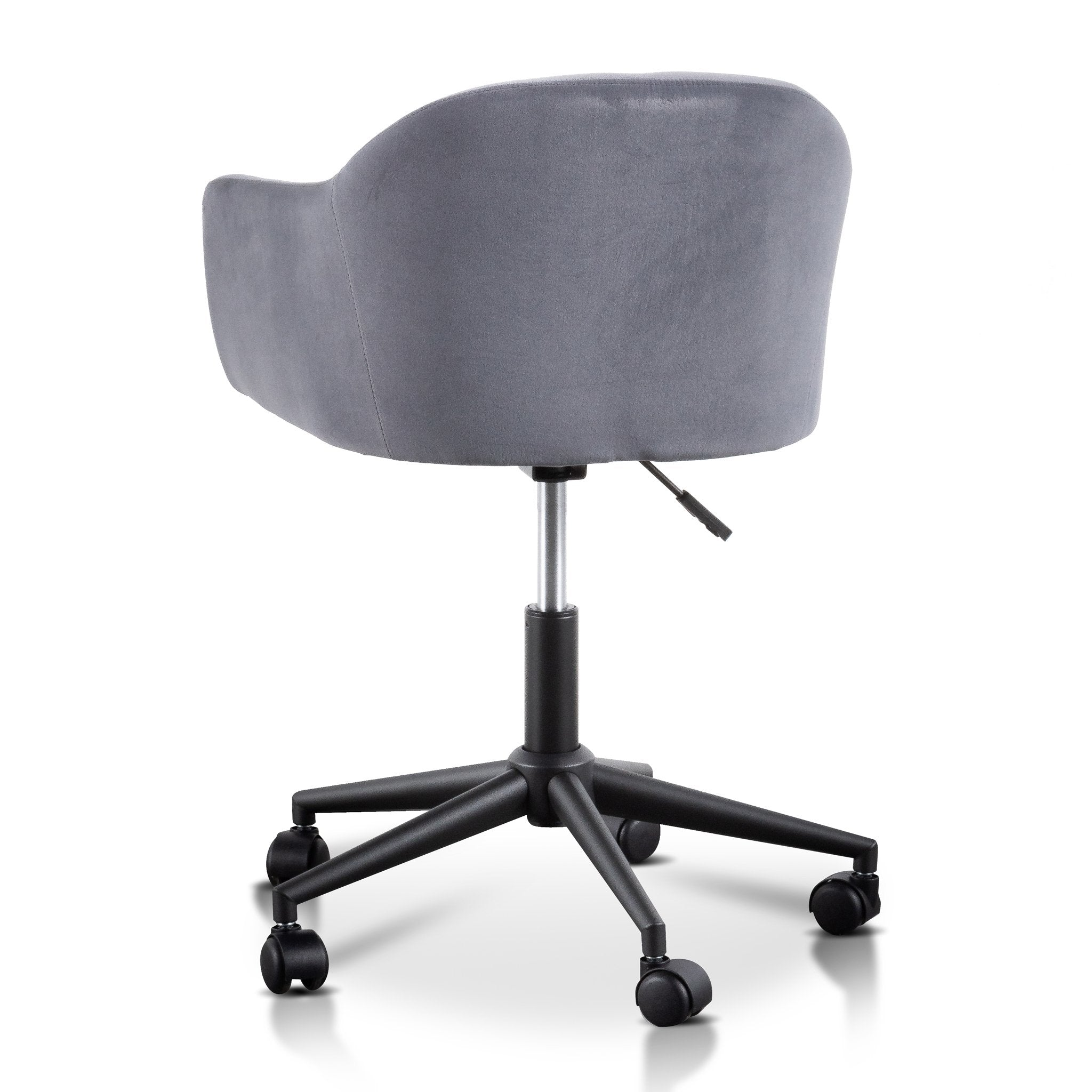 Lelle Charcoal Velvet office Chair - Black Base
