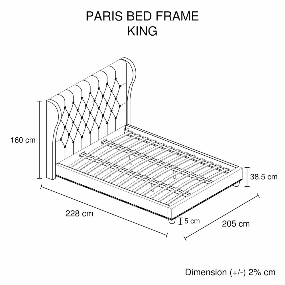 Paris Bedframe King Size Beige color