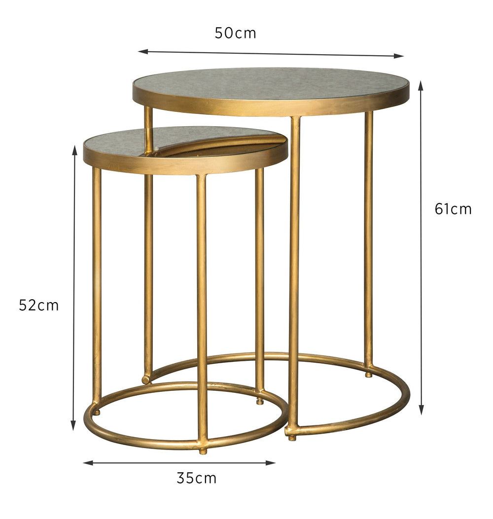 Mezeine Mirrored Top Nesting Table Set