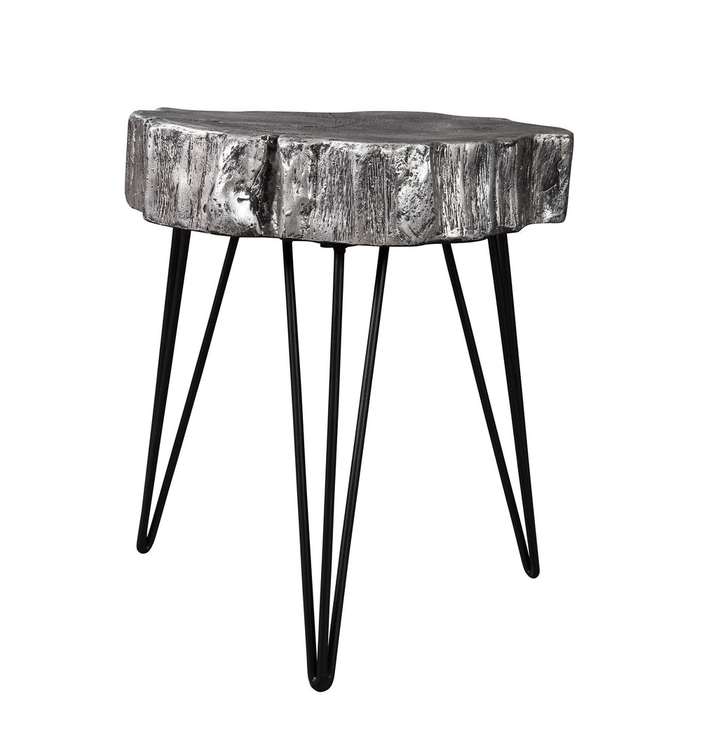 Dorsu Antiqued Silver - Tone Tree Stump Side Table