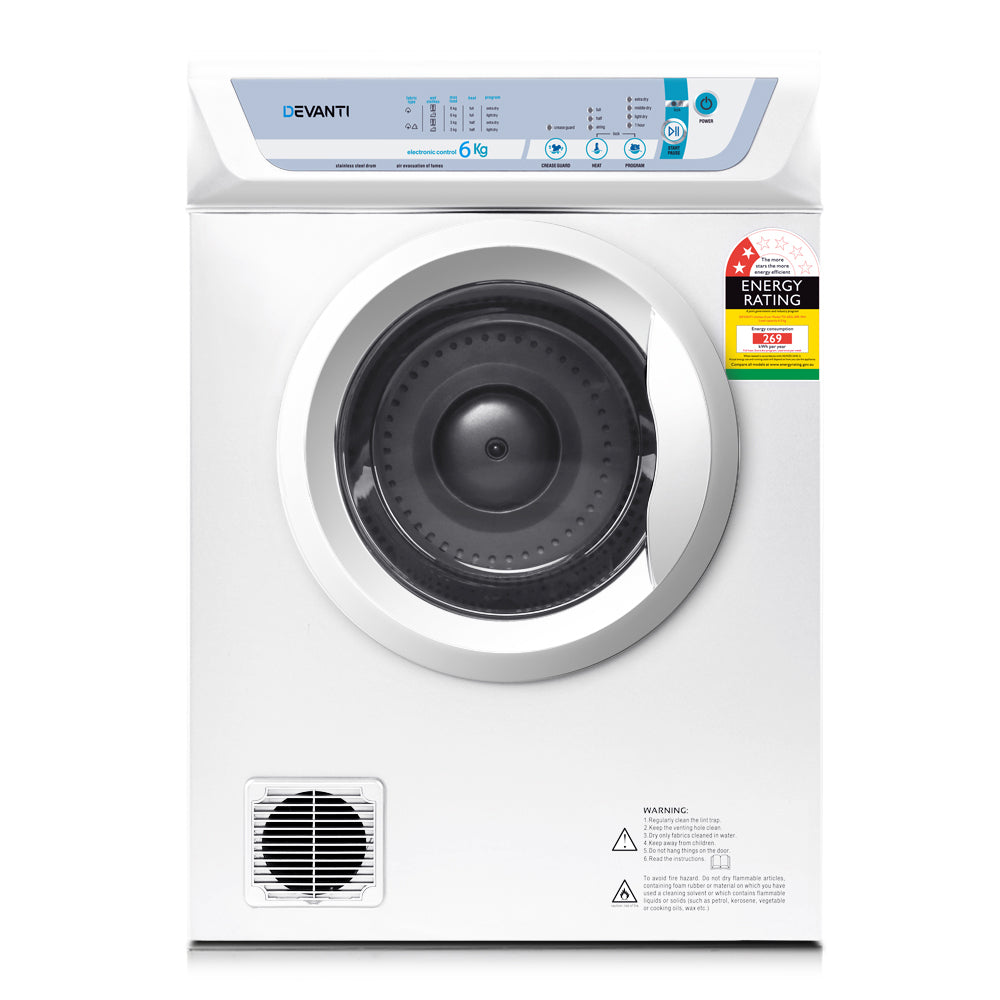 Devanti 6kg Clothes Tumble Dryer White