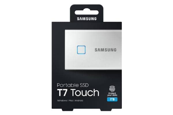 Samsung T7 Touch Portable SSD 1TB,USB3.2, Type-C, R/W(Max) 1,050MB/s, Aluminium Case, Fingerprint Password Security, Silver, 3 Years Warranty
