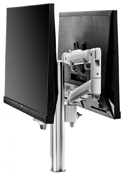 Atdec AWM Dual monitor arm solution - dynamic arms - 400mm post - Grommet Clamp - white
