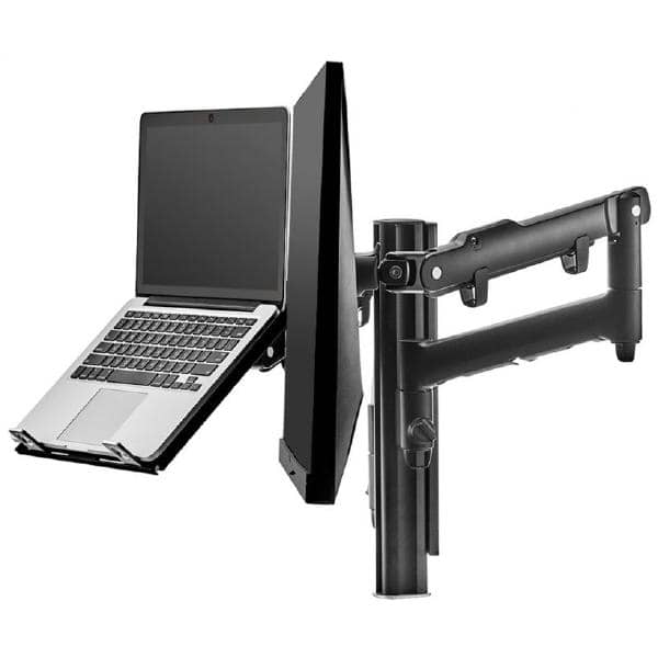Atdec AWM Dual monitor arm solution - dynamic arms  - 135mm post - F Clamp - black with a note book tray