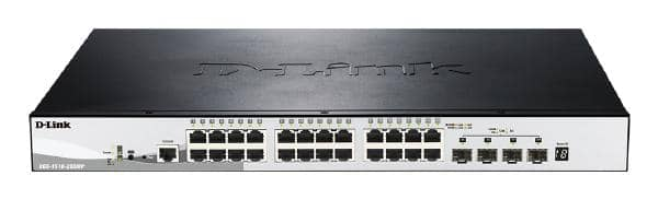 D-LINK 28-Port Gigabit SmartPro Stackable 370W PoE Switch with 24 RJ45 and 4 SFP+ 10G Ports