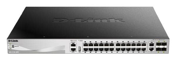 D-Link 30 port Stackable Gigabit PoE+ Switch with 24 1000Base-T PoE/PoE+ ports and 4 10 Gigabit SFP+ ports and 2 10GBASE-T ports. PoE budget 370W
