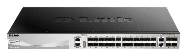 D-Link 30 port Stackable Gigabit Switch with 24 SFP ports and 4 10 Gigabit SFP+ ports and 2 10GBASE-T ports.