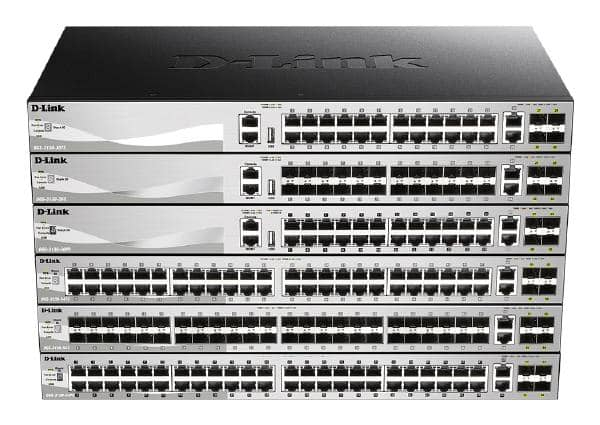 D-Link 54 port Stackable Gigabit Switch with 48 SFP ports and 4 10 Gigabit SFP+ ports and 2 10GBASE-T ports.