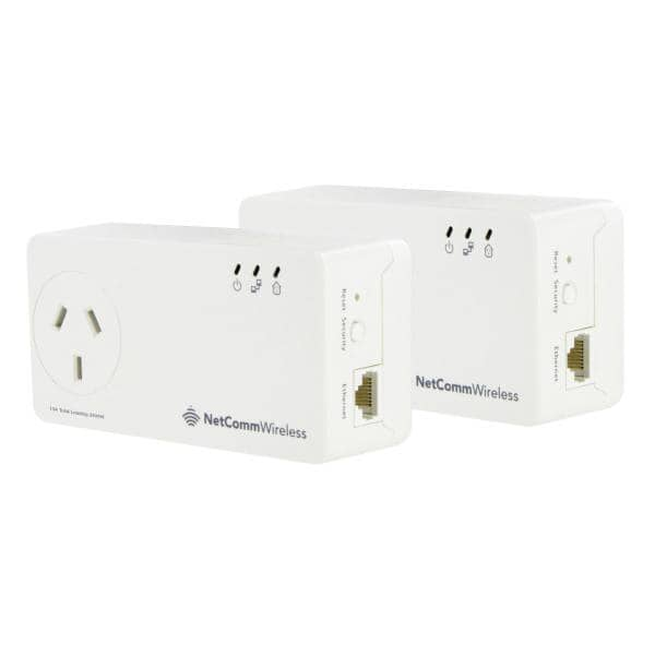 NetComm NP1201 1.2Gbps Powerline AC Pass-Through  Twin Pack - Gigabit LAN