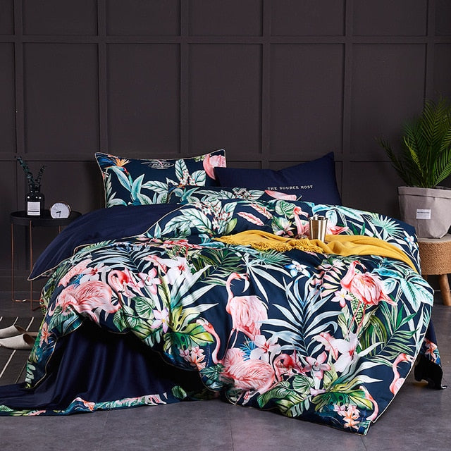Tropical Paradise Silky Cotton Duvet Cover Set (4/6 Pieces) - The Urban Pride