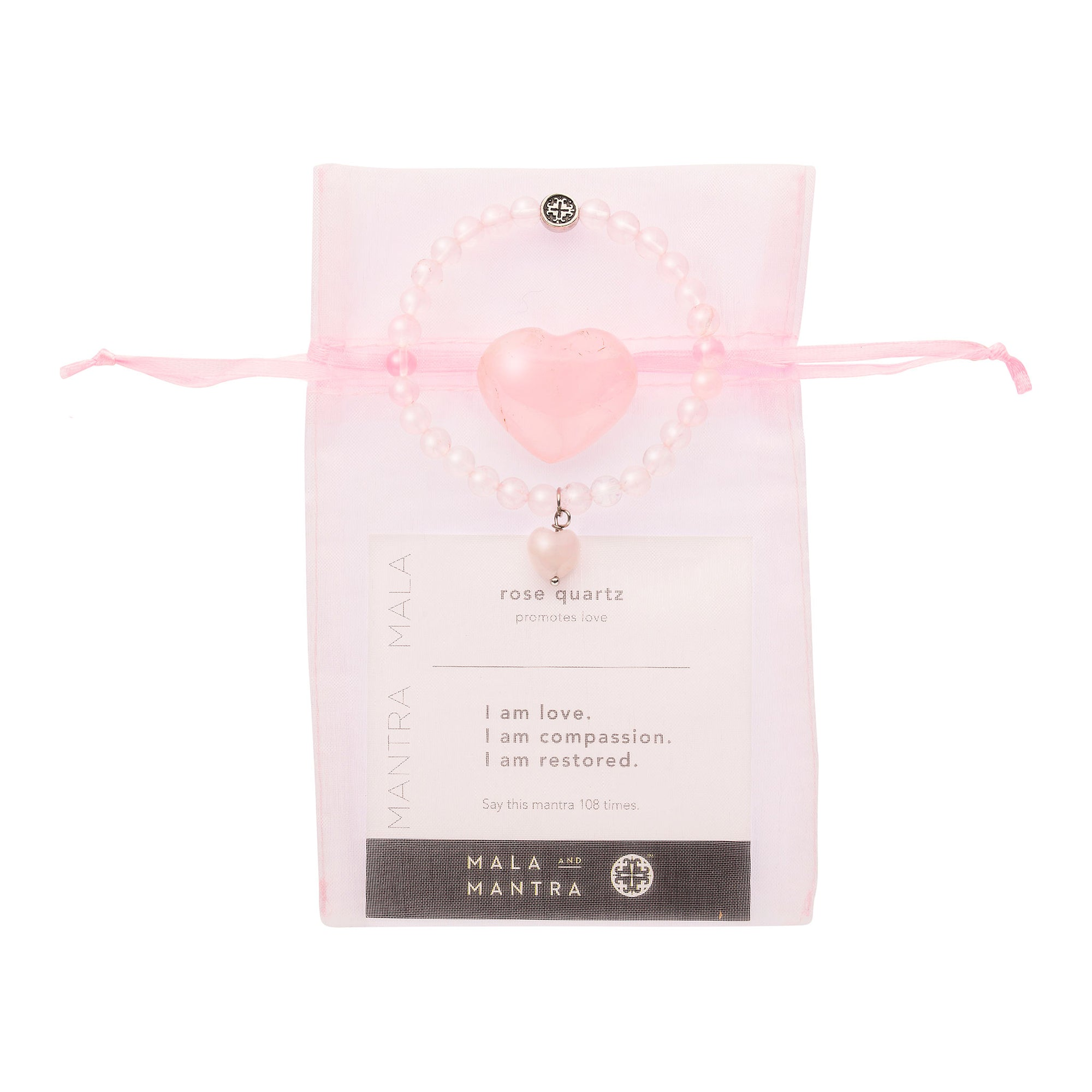 BE LOVE: Rose Quartz Stretch Bracelet with Rose Quartz Heart Charm + Rose Quartz Heart Stone Gift Set