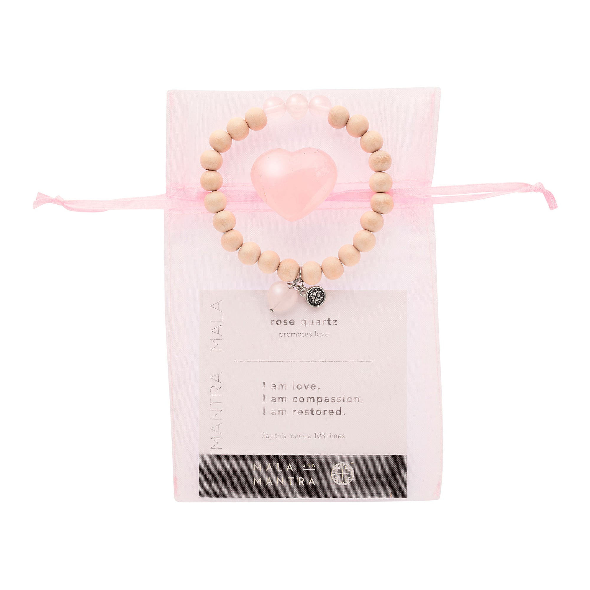 BE LOVE: Whitewood + Rose Quartz Triple Happiness Stretch Bracelet with Rose Quartz Heart Charm + Rose Quartz Heart Stone Gift Set