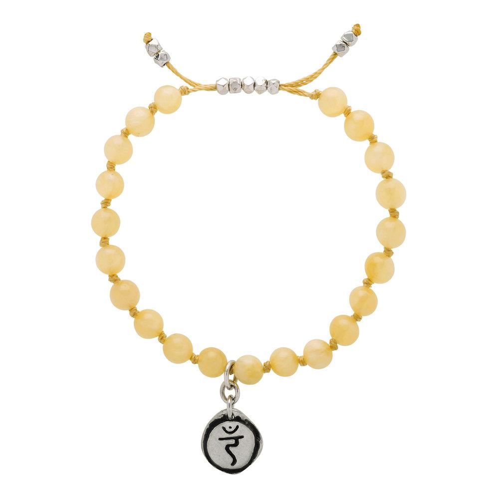Yellow Jade Mala Bracelet with Manipura Charm (6mm) - malaandmantra