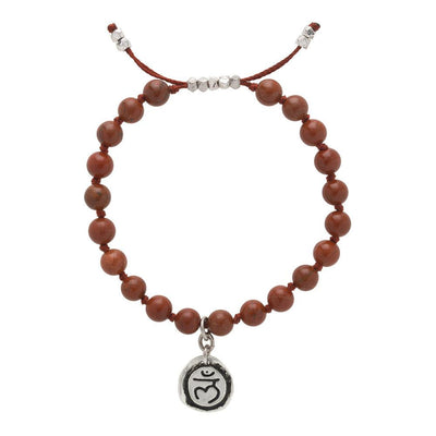 Red Jasper Mala Bracelet with Muladhara Charm (6mm) - malaandmantra
