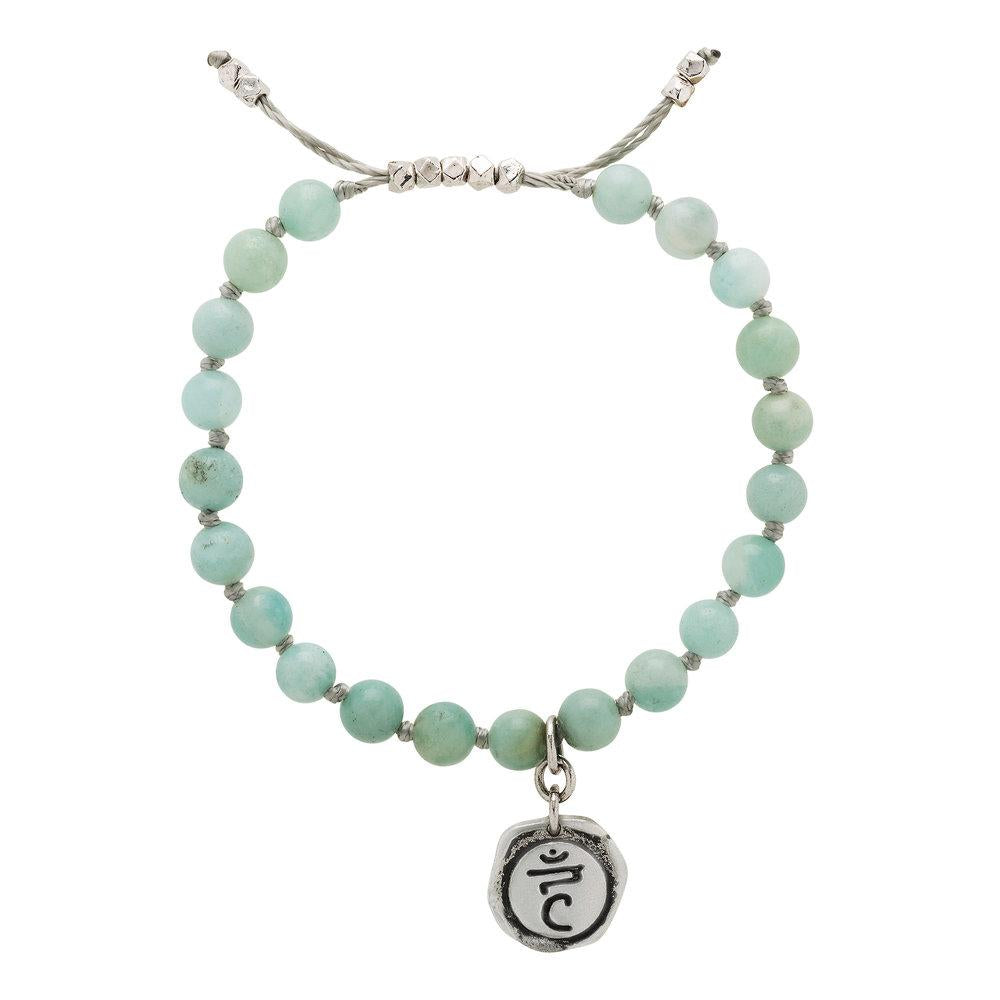 Amazonite Mala Bracelet with Vishuddha Charm (6mm) - malaandmantra