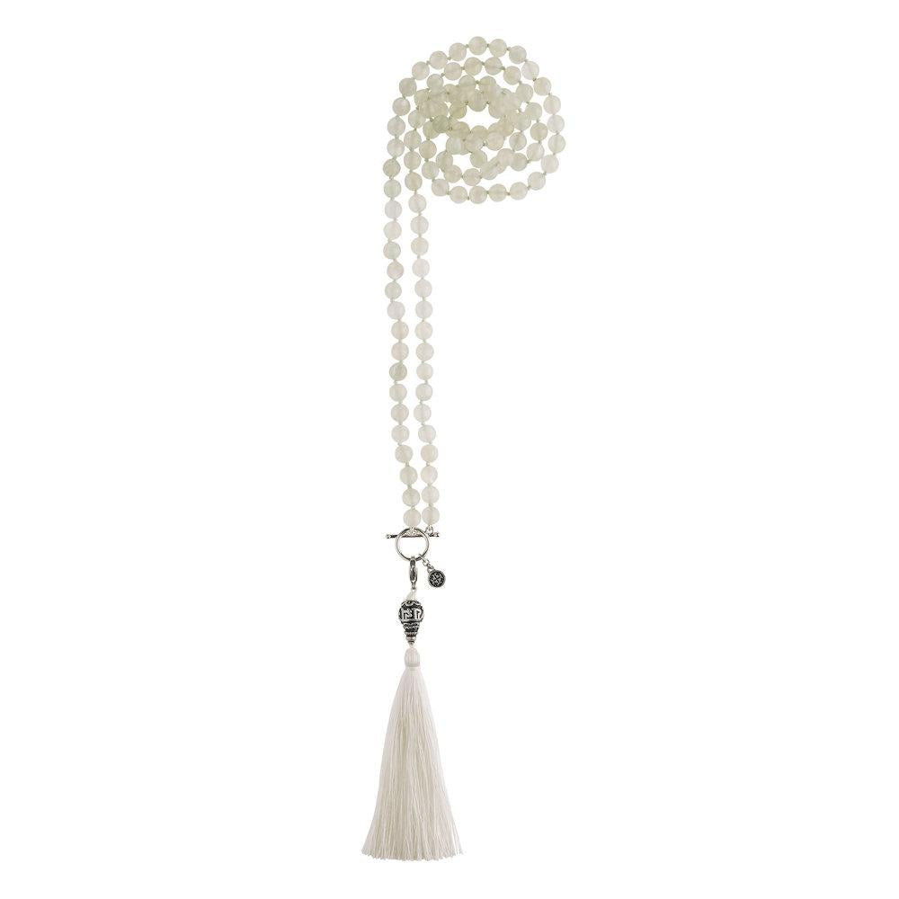 Moonstone 108 Bead Mala Necklace - malaandmantra