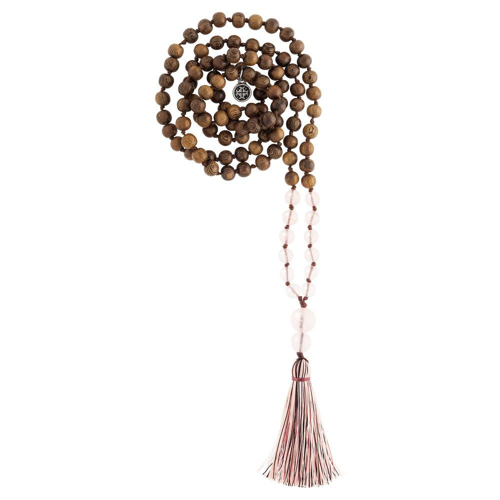 Namaste Hand-knotted 108 Bead Mala: Robles wood + Rose Quartz - malaandmantra