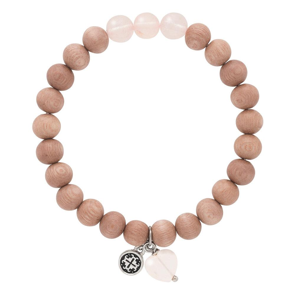 Triple Happiness Bracelet: Rosewood + Rose Quartz with Heart charm - malaandmantra