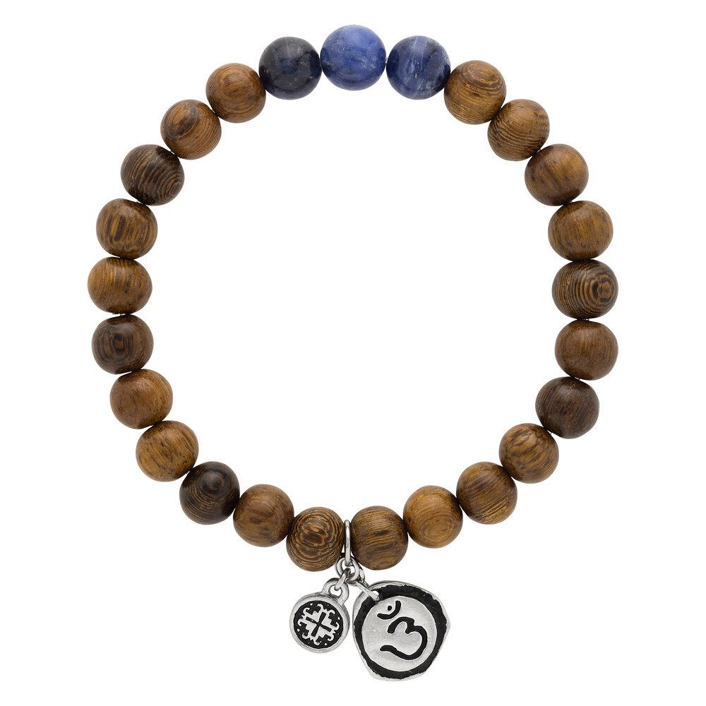 Triple Happiness Bracelet: Robles wood + Sodalite with Ajna charm - malaandmantra
