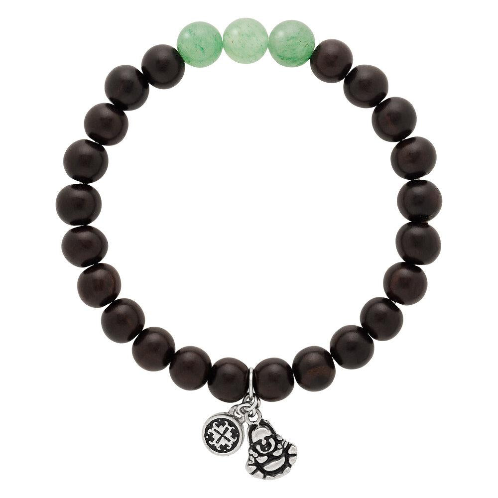 Triple Happiness Bracelet: Blackwood + Green Aventurine with Buddha charm - malaandmantra