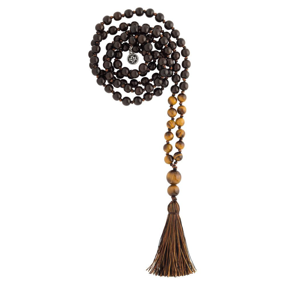 Namaste Hand-knotted 108 Bead Mala: Blackwood + Tiger's Eye - malaandmantra