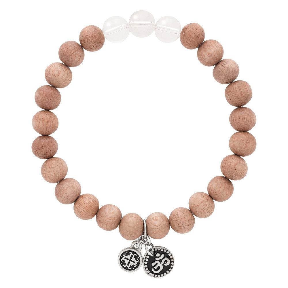 Triple Happiness Bracelet:  8mm Rosewood + Crystal Quartz with Om charm - malaandmantra