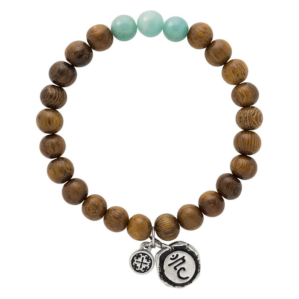 Triple Happiness Bracelet: Robles wood + Amazonite with Visshudha charm - malaandmantra