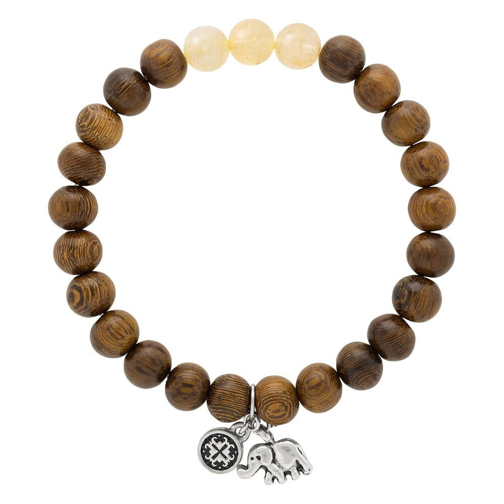 Triple Happiness Bracelet: Robles wood + Citrine with Elephant charm - malaandmantra