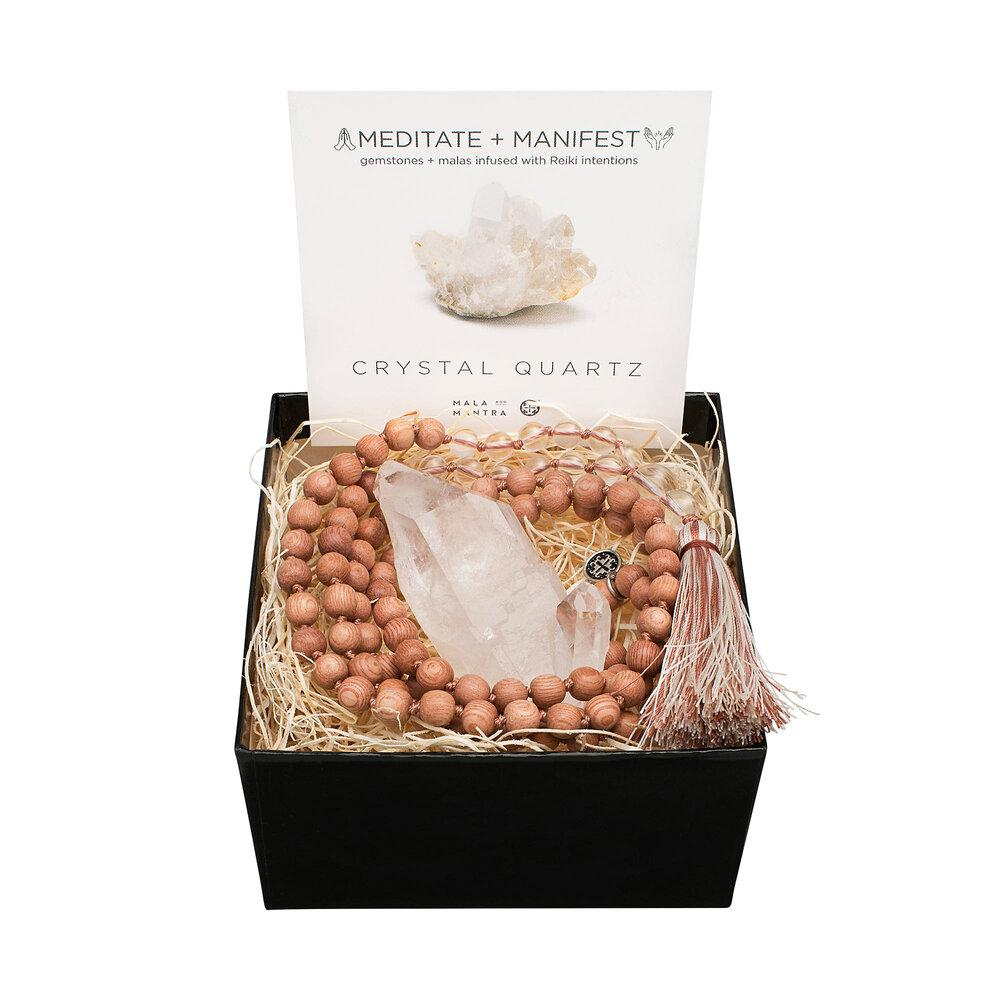 Gemstone Gift Set: Crystal Quartz + Rosewood Namaste Mala with Gemstone - malaandmantra