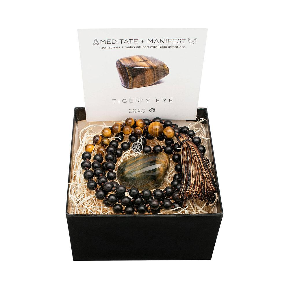 Gemstone Gift Set: Tiger's Eye + Blackwood Namaste Mala with Gemstone - malaandmantra