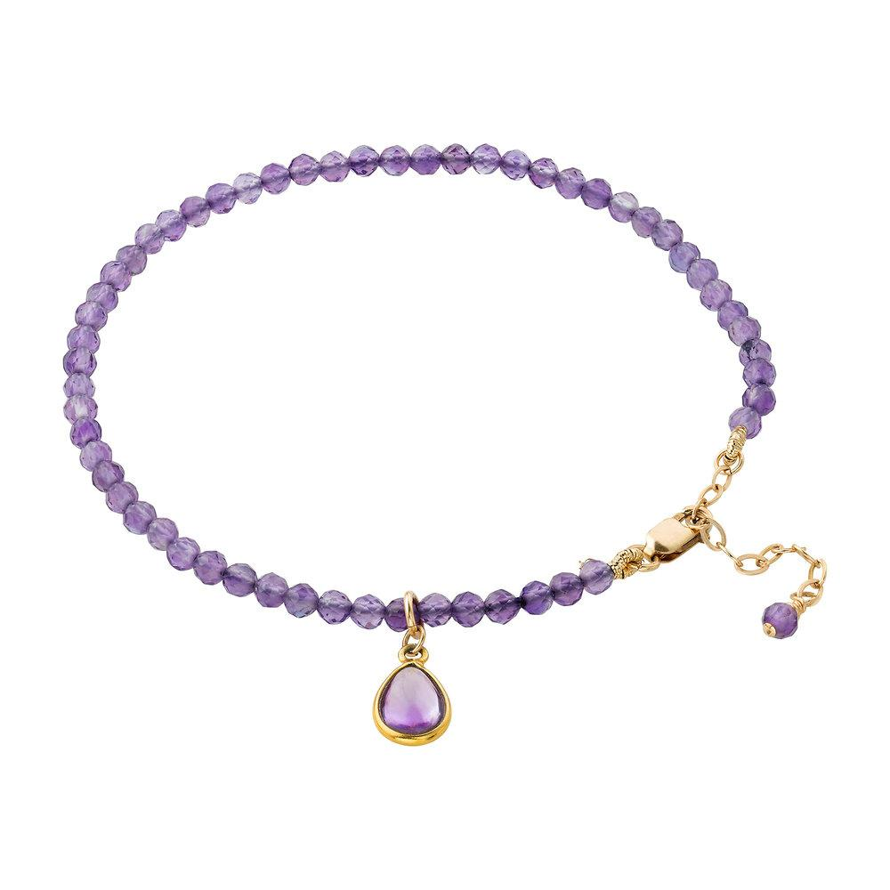 Amethyst (February) Women's Delicate Faceted Birthstone Bracelet - malaandmantra