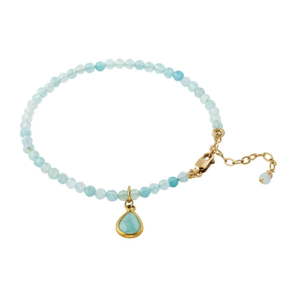 Aquamarine (March) Women's Delicate Faceted Birthstone Bracelet - malaandmantra