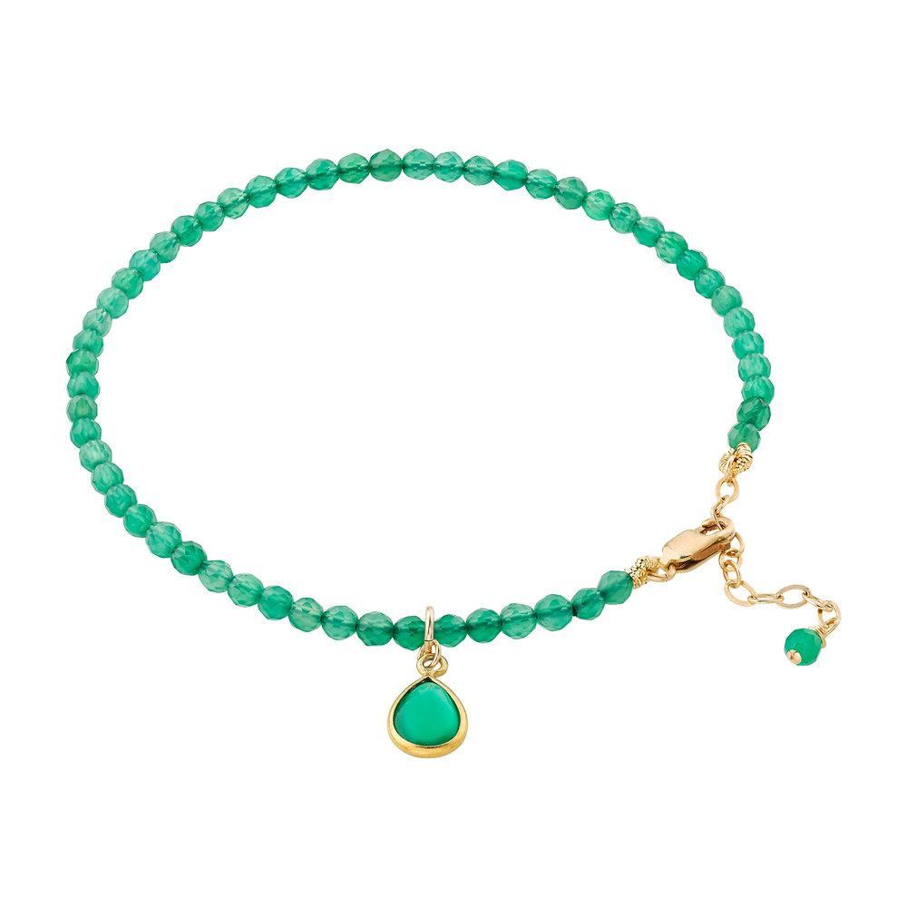 Green Agate (May) Women's Delicate Faceted Birthstone Bracelet - malaandmantra