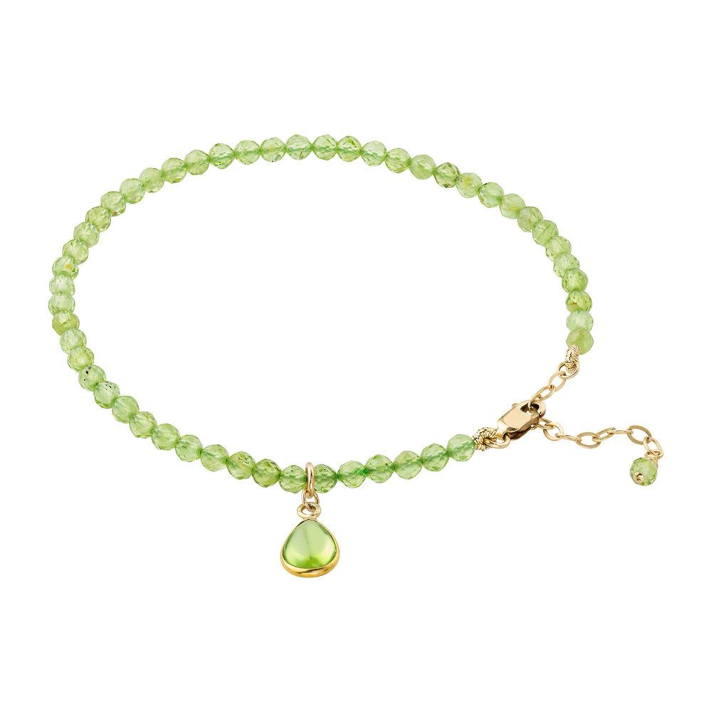 Peridot (August) Women's Delicate Faceted Birthstone Bracelet - malaandmantra