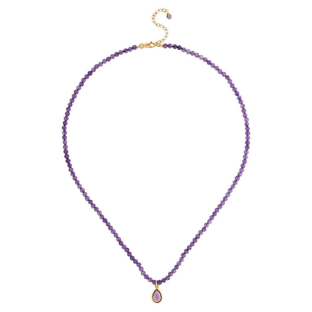 "Amethyst (February) Women's Delicate 16"" Faceted Birthstone Necklace - malaandmantra"